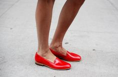 Patent red loafers