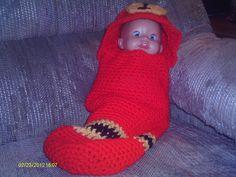 Crochet Fireman Newborn cocoon.