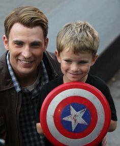 Edison with Chris Evans (Captain America)
