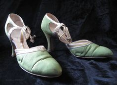 "1920's lime green silk faille ankle strap D'Osray style shoes with silver and gold straps and trim, rhinestone encrusted silver-tone buckles and 2 3/4-inch heels. Always stylish and elegant, the open-sided D'Osray style is particularly well-suited to Roaring 20's designs, as-is the striking combination of lime green silk with silver and gold leather. These shoes are stamped ""Hochschil & Kohn Com Baltimore's Best Store"""