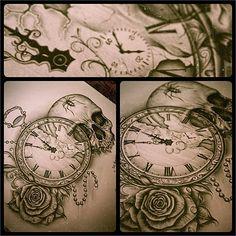 tattoo ideas, rose, skull tattoos, clock, tattoo patterns, pocket watches, a tattoo, tattoo ink, design