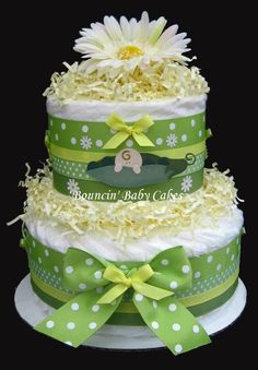 Idea for making a diaper cake for pea-in-a-pod baby shower