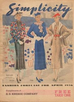 Simplicity Fashion Forecast Flyer, April 1936 featuring Simplicity 2005, 1988 and 2001