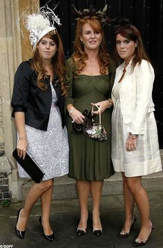 Eugenie with older sister Beatrice (left) and mother The Duchess of York
