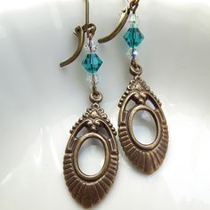 Victorian Antique Brass Turquoise Crystal by Plumbeadacious $12.99