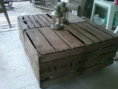 Vintage apple crates made into a cocktail table for outside!