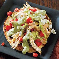 Chicken Tostadas and Avocado Dressing | CookingLight.com