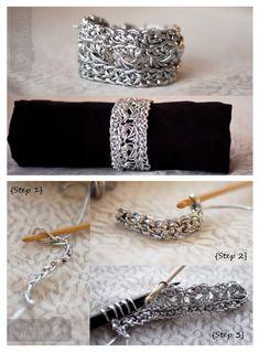 crochet bracelet free pattern, cuff jewelri, crochet metal, crochet cuff, bracelets, metal crochet, crochet stitches, diy bracelet, crochet diy