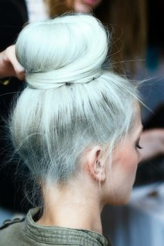 Blue/grey bun #Fashiolista #Inspiration
