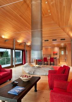Pond House - contemporary - living room - portland maine - Elliott + Elliott Architecture