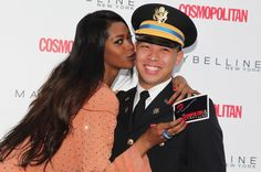 A VERY personal thanks to one of the brave members of our armed forces! Check out more celebrity kisses at http://cosmopolitan.com/kisses.