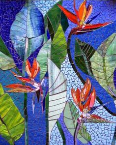 """En Paradis"" - commissioned mosaic wall panel 24 x 36 - Judith Scallon"