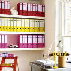 Colour Spectrum Bright Office Storage - Great idea for document storage in your craft room or office!