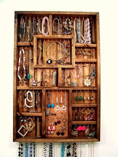 I hang all my necklaces on the wall which involves a lot of nails and a lot of spackling every time we move.  Now I just have to convince my husband to make one for me. wall art, earring holders, handmade jewelry earrings, jewelry displays, diy jewelry, display cases, jewelry organization, wood walls, jewelri organ