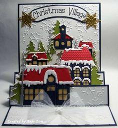 Christmas village card---- Voorbeeldkaart - Ook voor de demo - Categorie: Scrapkaarten - Hobbyjournaal uw hobby website
