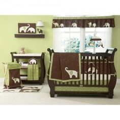 brown & green elephant themed nursery