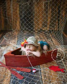 Cute little fishing baby