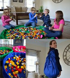 Lay-n-Go Toy Storage  ::   Lite(18 inch) ~ Large(5 foot)  ::   travel/mini activity mat that converts into an easily transportable satchel allowing for a quick and effortless clean-up of small toy pieces in seconds.