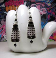 Dr. Who White Dalek Dangle Earrings. $11.00, via Etsy.