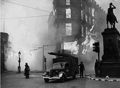 Holborn Circus in London burns at the height of the Blitz. London was bombed on 76 consecutive nights as part of the Battle of Britain campaign by the German airforce during 1940.