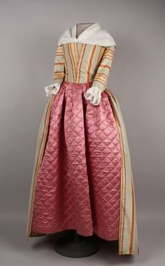 1785-1795 Gown. From the collection at the American Textile History Museum, Lowell MA
