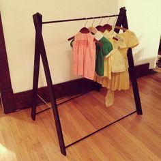 Simple clothes rack. Love it! #closet #organized #clothes #rack #dolls #kids #clothes
