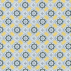 Slate/Goldenrod Mosaic Fabric by the Yard | Serena & Lily
