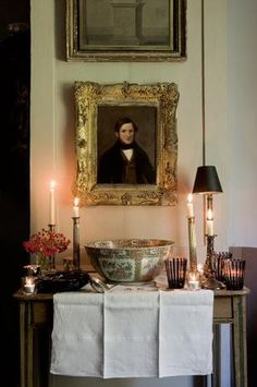 Lovely vignette with candlelight, portraiture and Canton Rose punch bowl