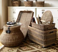 toy storage???    Jacquelyne Recycling Bin Basket | Pottery Barn