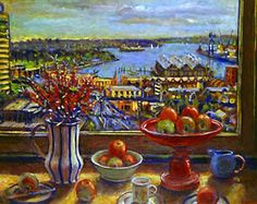 """Woolloomooloo with bottlebrush"" in 2000 by Margaret Olley. Oil on composition board."