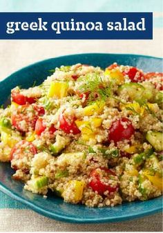 Greek Quinoa Salad – With just 15 minutes of prep, this recipe isn't just tasty – it's good-looking too.