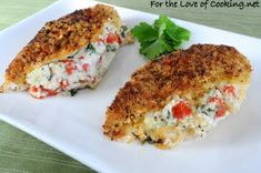 Panko-Crusted Chicken Stuffed with ricotta, spinach, tomatoes and basil via fortheloveofcooking.net