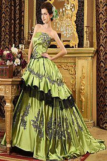 Strapless Satin Green Wedding Dress Bridal Gowns