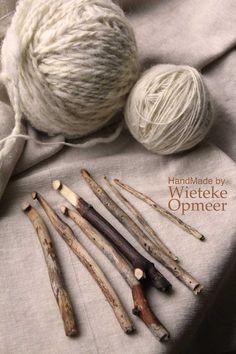 Handmade sustainable wooden crochet needles from by wietekeopmeer, €11.00