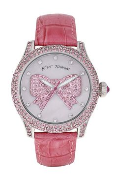 Betsey Johnson Graphic Dial Leather Strap Watch available at Nordstrom (BB)