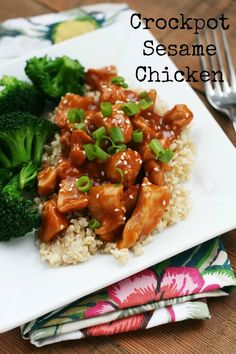 Crockpot sesame #chicken #recipe - Just prepare your crockpot and forget about it until dinner is ready. Please repin!