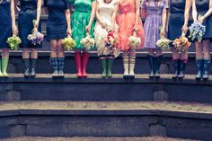 bridesmaids wearing rainboots.(: