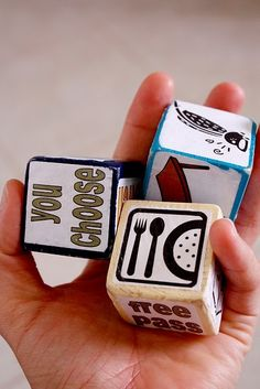 Chore blocks! Great idea to make chores fun for kids.....at least before the chores get started...