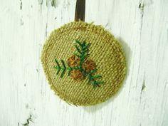 CLEARANCE Round Burlap Ornament with embroidered Pinecone and Tree