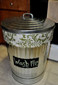 Laundry hamper from galvanized trash can.