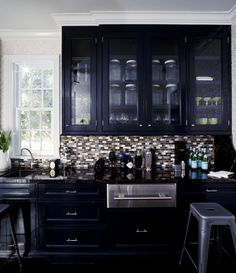black cabinets kitchen | http://www.ruemag.com/gallery/kitchens/