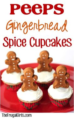 Peeps Gingerbread Spice Cupcakes! ~ from TheFrugalGirls.com ~ these tasty little treats are the perfect addition to your Christmas parties! #cupcake #thefrugalgirls