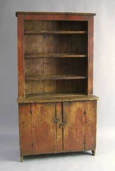 New England painted pine stepback cupboard,