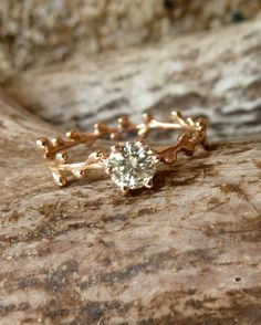 Prong Set Green Moissanite and Rose Gold Wreath by kateszabone, $595.00