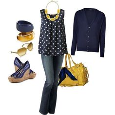 Polka Dot! polka dots, game day outfits, color combos, yellow and navy outfits, navy blues shirts, the navy, navy and white outfits, mustard yellow, outfits with navy blue