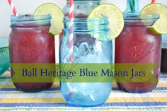 Summer Drink Recipes   Easy Cherry Limeade in the beautiful @Ball® Canning Heritage Blue Jars #heritageblue