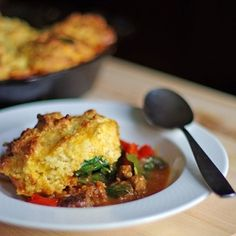 Sausage and Red Pepper Polenta Cobbler made in a cast iron skillet. sausag, red pepper, pepper polenta, food, savory pies, bell peppers, savori pie, cookbook review, polenta recipes