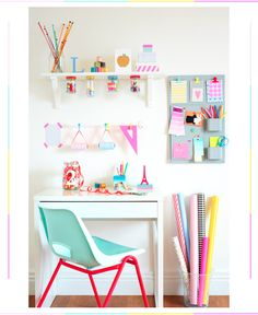 A bright, cheerful, and inspiring home craft station. pastel, craft station, home crafts, happy colors, magazin, home offices, workspac, girl rooms, craft rooms