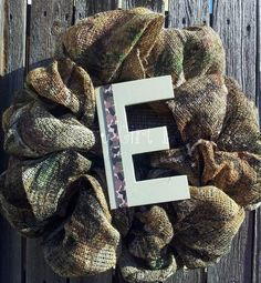 Burlap Camo Wreath with Metal Sign by CraftyGirlBowtique on Etsy,