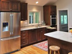 kitchens, applianc, kitchen idea, stain cabinet, gray walls, dark cabinets light floor, painted cabinets, countertop, light wall